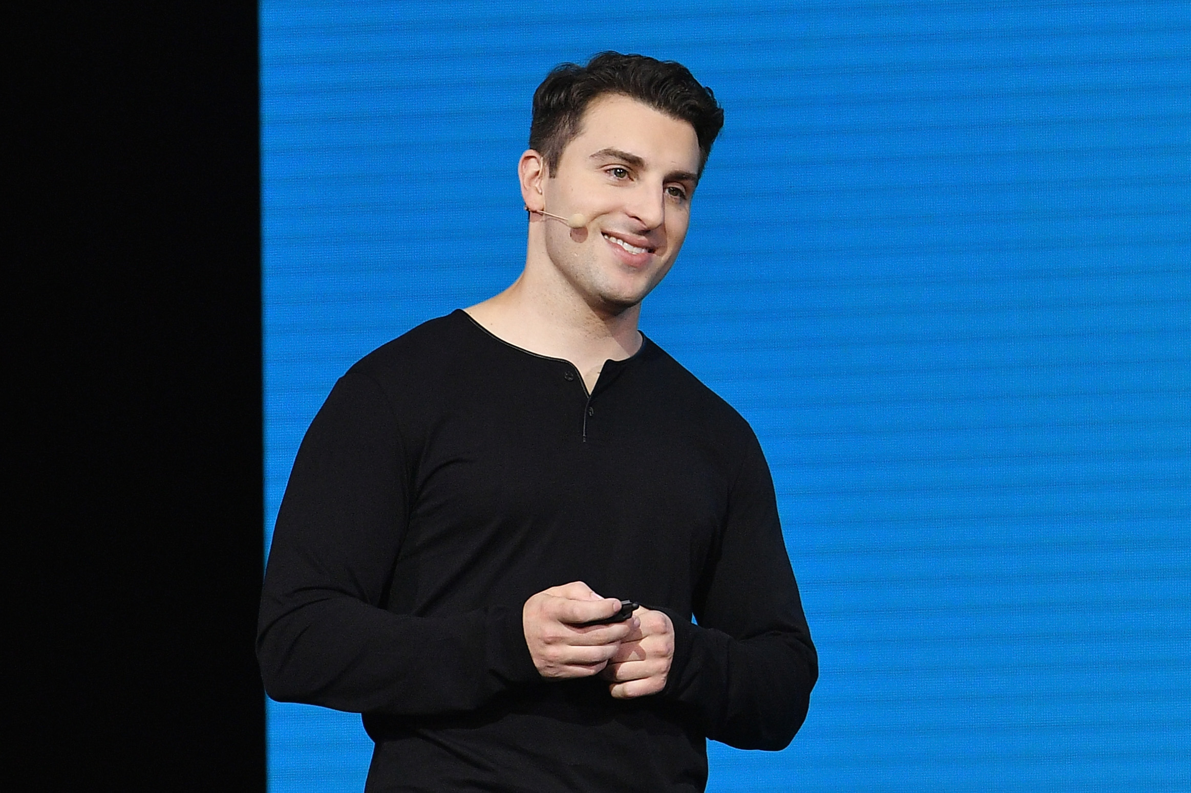 "LOS ANGELES, CA - NOVEMBER 17: Airbnb CEO Brian Chesky speaks onstage during ""Introducing Trips"" Reveal at Airbnb Open LA on November 17, 2016 in Los Angeles, California. (Photo by Mike Windle/Getty Images for Airbnb) *** Local Caption *** Brian Chesky"